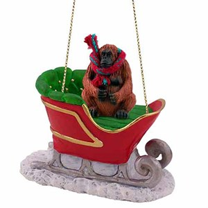 Orangutan Sleigh Ride Christmas Ornament