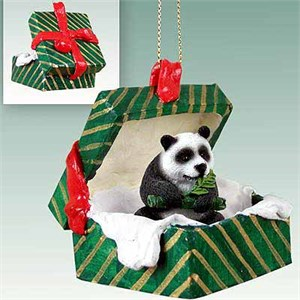 Panda Bear Gift Box Christmas Ornament