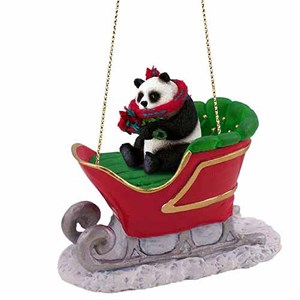 Panda Bear Sleigh Ride Christmas Ornament