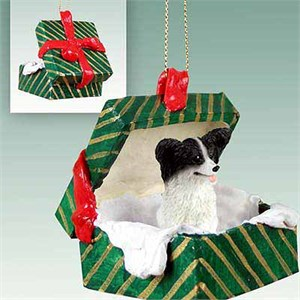 Papillon Gift Box Christmas Ornament Black-White