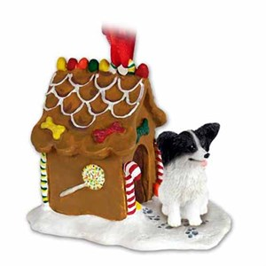 Papillon Gingerbread House Christmas Ornament Black-White