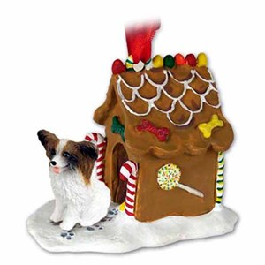 Papillon Gingerbread House Christmas Ornament Brown-White