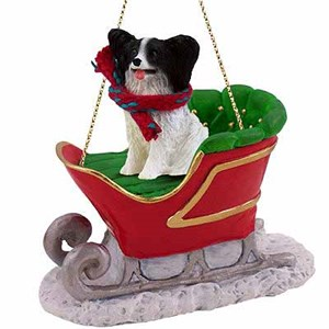 Papillon Sleigh Ride Christmas Ornament Black-White