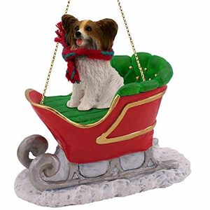Papillon Sleigh Ride Christmas Ornament Brown-White