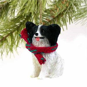 Papillon Tiny One Christmas Ornament Black-White