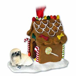 Pekingese Gingerbread House Christmas Ornament