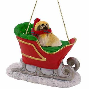 Pekingese Sleigh Ride Christmas Ornament