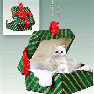 Persian Cat Gift Box Christmas Ornament