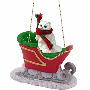 Persian Cat Sleigh Ride Christmas Ornament