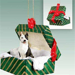 Pit Bull Terrier Gift Box Christmas Ornament Brindle