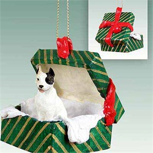 Pit Bull Terrier Gift Box Christmas Ornament White