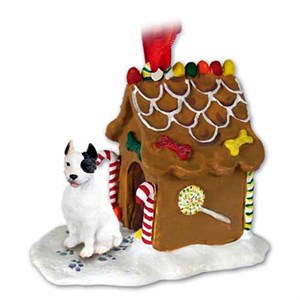 Pit Bull Terrier Gingerbread House Christmas Ornament White