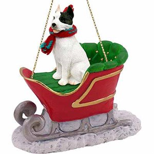 Pit Bull Terrier Sleigh Ride Christmas Ornament White