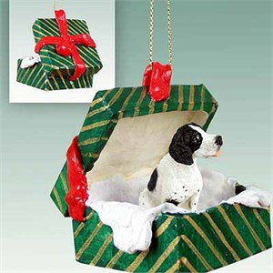 Pointer Gift Box Christmas Ornament Black-White
