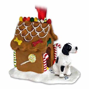 Pointer Gingerbread House Christmas Ornament Black-White