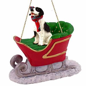 Pointer Sleigh Ride Christmas Ornament Black-White