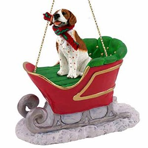 Pointer Sleigh Ride Christmas Ornament Brown-White