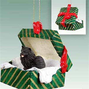Pomeranian Gift Box Christmas Ornament Black