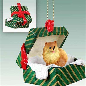 Pomeranian Gift Box Christmas Ornament Red