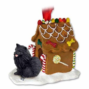 Pomeranian Gingerbread House Christmas Ornament Black