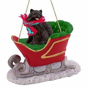 Pomeranian Sleigh Ride Christmas Ornament Black