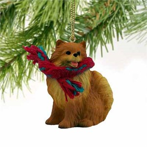 Pomeranian Tiny One Christmas Ornament Red