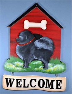 Pomeranian Welcome Sign Black