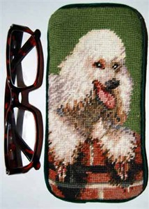 Poodle Eyeglass Case White