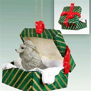 Poodle Gift Box Christmas Ornament Gray