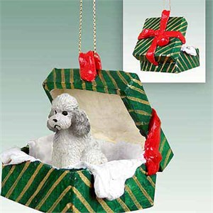 Poodle Gift Box Christmas Ornament Gray Sport Cut