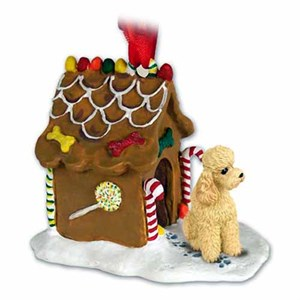 Poodle Gingerbread House Christmas Ornament Apricot Sport Cut
