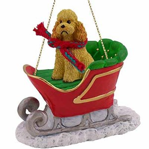 Poodle Sleigh Ride Christmas Ornament Apricot Sport Cut