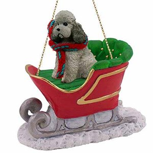 Poodle Sleigh Ride Christmas Ornament Gray Sport Cut