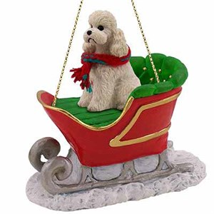 Poodle Sleigh Ride Christmas Ornament White Sport Cut