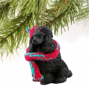 Poodle Tiny One Christmas Ornament Black