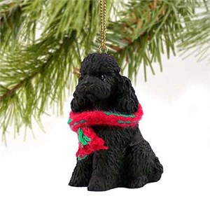 Poodle Tiny One Christmas Ornament Black Sport Cut