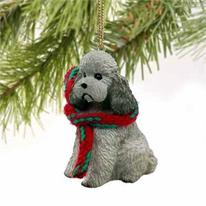 Poodle Tiny One Christmas Ornament Gray Sport Cut