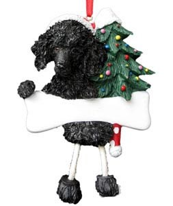 Poodle Christmas Tree Ornament - Personalize (Black)