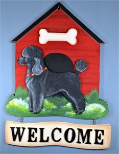 Poodle Welcome Sign Miniature Black