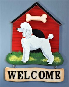Poodle Welcome Sign Std. White.