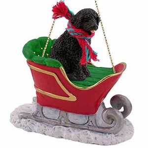 Portuguese Water Dog Sleigh Ride Christmas Ornament