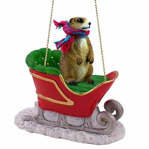 Prairie Dog Sleigh Ride Christmas Ornament