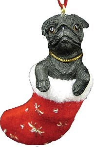 Pug (Black) Christmas Stocking Ornament