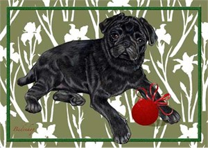 Pug Christmas Cards Black