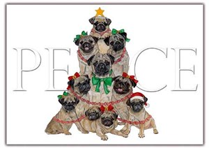 Pug Christmas Cards Peace