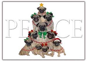 Pug Christmas Cards Peace