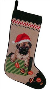 Pug Christmas Stocking Santa Hat