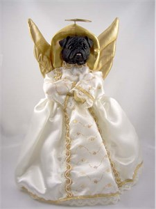 Pug Angel Christmas Tree Topper (Black)