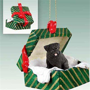 Pug Gift Box Christmas Ornament Black