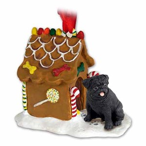 Pug Gingerbread House Christmas Ornament Black